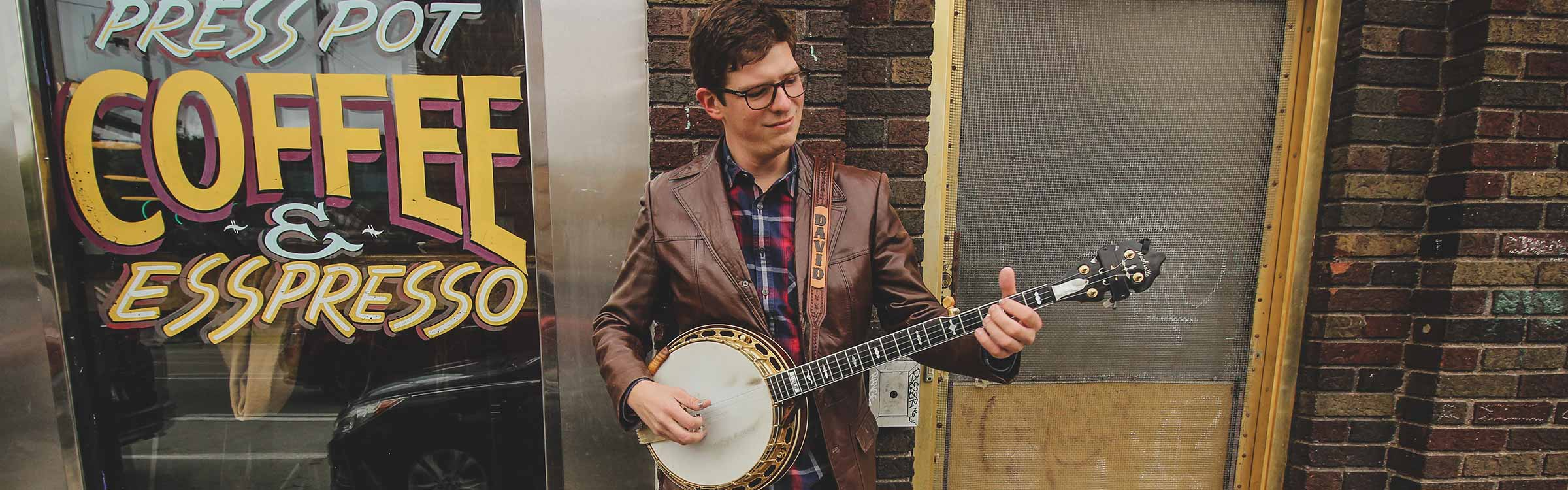 David Robinson playing the banjo